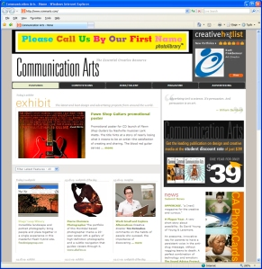 """Communication Arts regularly features a favorite """"Webpick"""" and the Stags' Leap website project was their pick for March 18, 2009, www.commarts.com"""